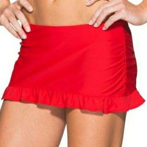 NWT ATHLETA saffron red ruffle swim skirt